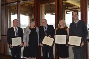 LC Chair John Armstrong, NPC Chair Janice Thomson, CEO Brian Merrett, Communications Officer Katie Farr, Research and Events Assistant Justin Letourneau accepting certificates of recognition from Niagara Parks